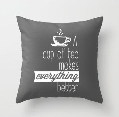 Cup Tea Pillow - Monochrome Studio on Etsy