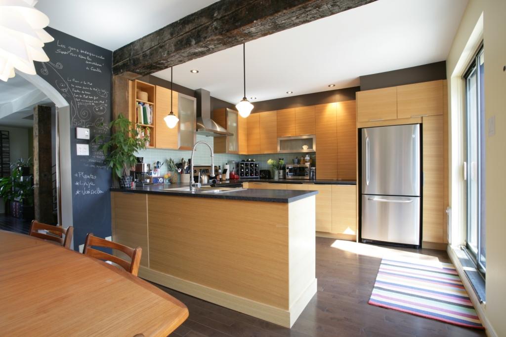 Rénovation cuisine armoire érable