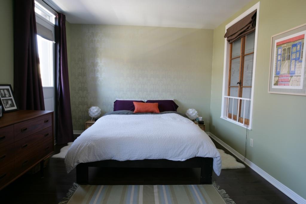Chambre à coucher papier peint vert